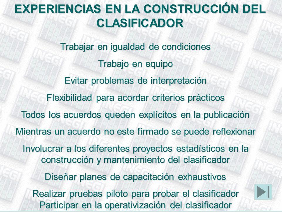 EXPERIENCIAS EN LA CONSTRUCCIÓN DEL CLASIFICADOR