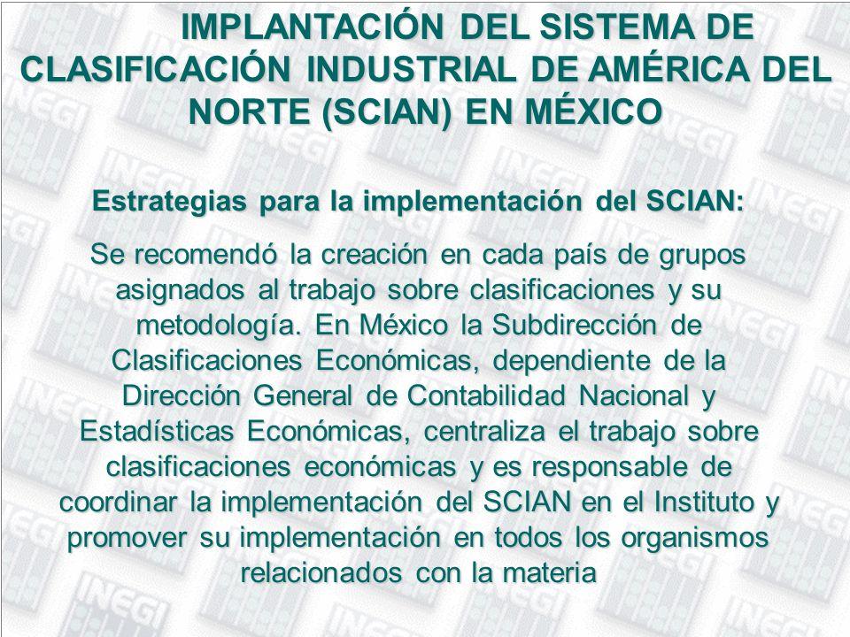 Estrategias para la implementación del SCIAN: