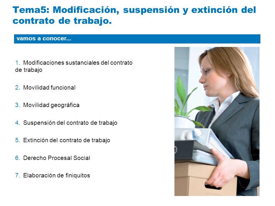 Tema5: Modificación, suspensión y extinción del contrato de trabajo.