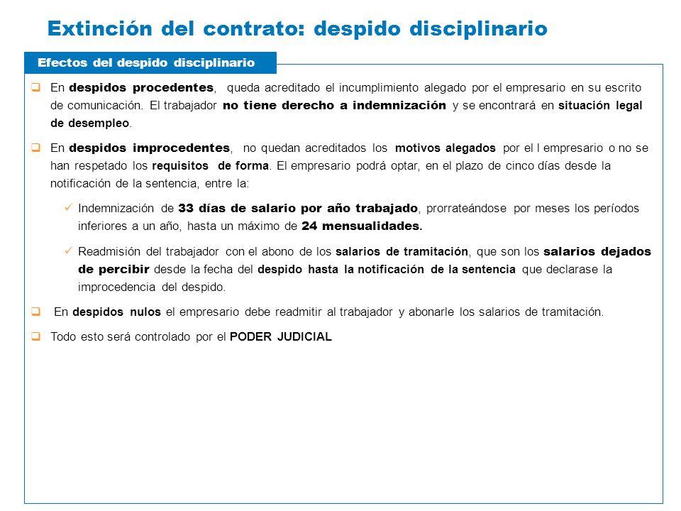Extinción del contrato: despido disciplinario