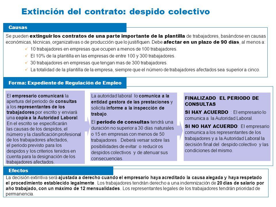 Extinción del contrato: despido colectivo