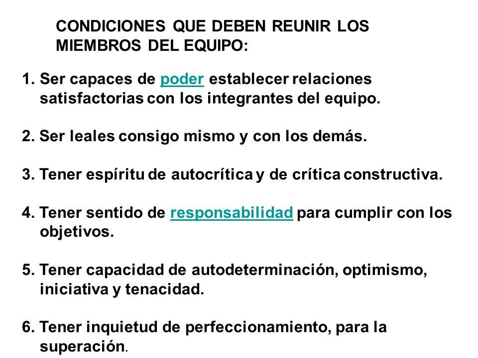 CONDICIONES QUE DEBEN REUNIR LOS MIEMBROS DEL EQUIPO: