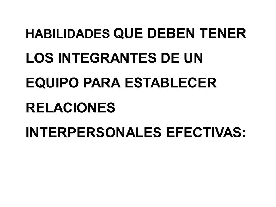EQUIPO PARA ESTABLECER RELACIONES INTERPERSONALES EFECTIVAS: