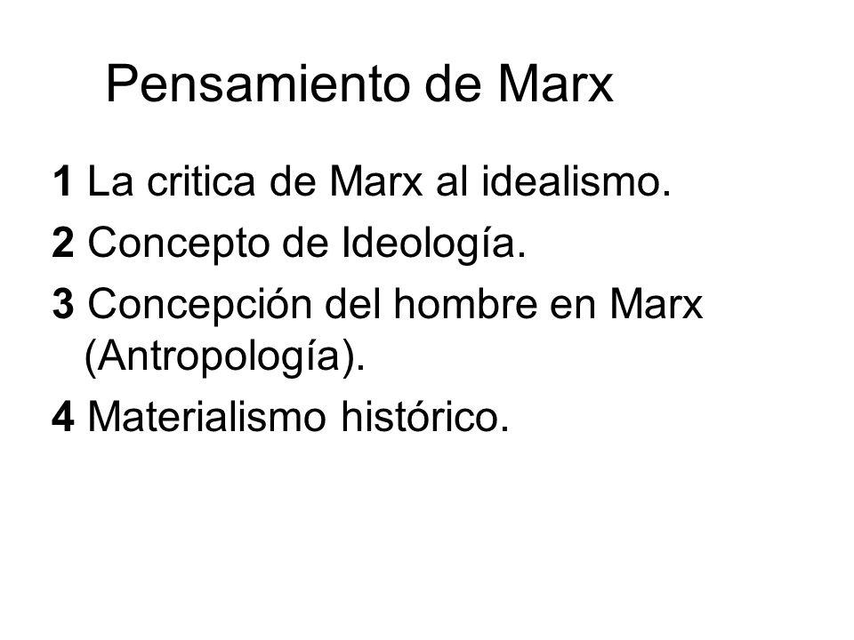 Pensamiento de Marx 1 La critica de Marx al idealismo.