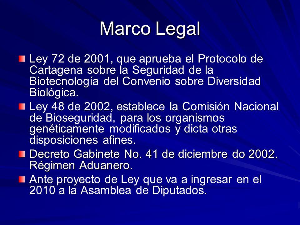 Marco LegalLey 72 de 2001, que aprueba el Protocolo de Cartagena sobre la Seguridad de la Biotecnología del Convenio sobre Diversidad Biológica.
