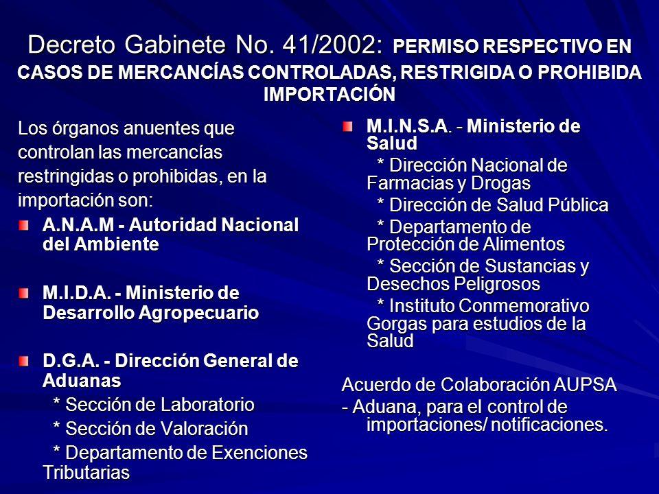 Decreto Gabinete No. 41/2002: PERMISO RESPECTIVO EN CASOS DE MERCANCÍAS CONTROLADAS, RESTRIGIDA O PROHIBIDA IMPORTACIÓN