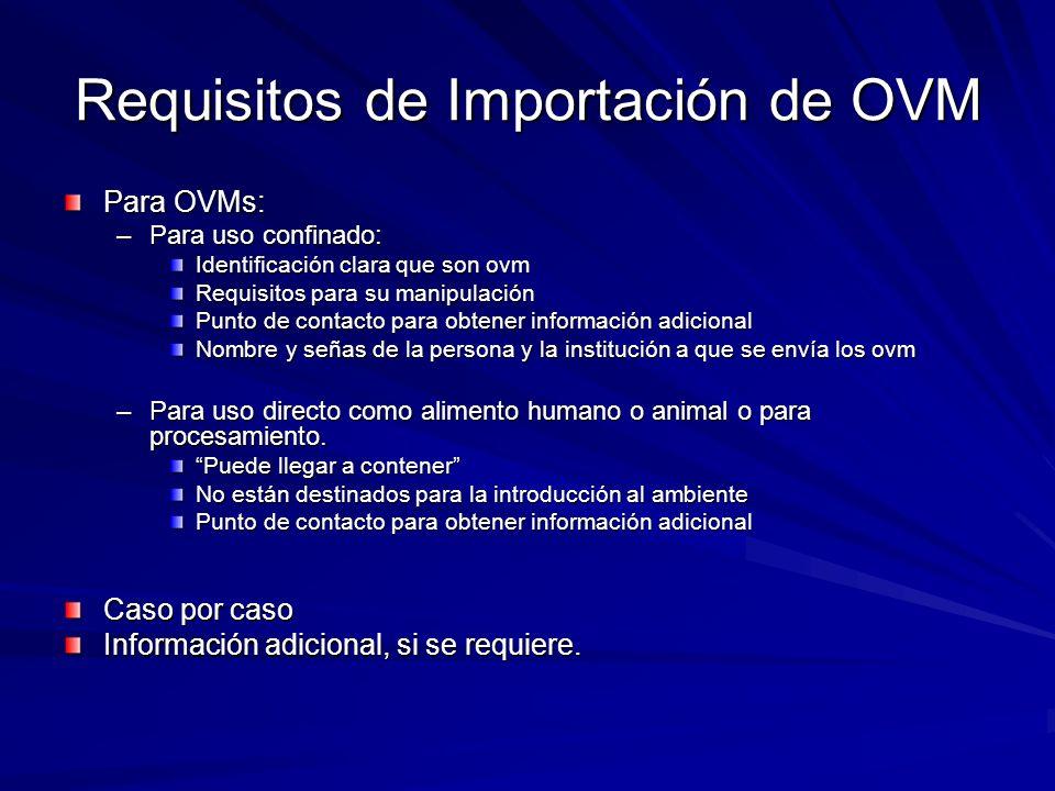Requisitos de Importación de OVM