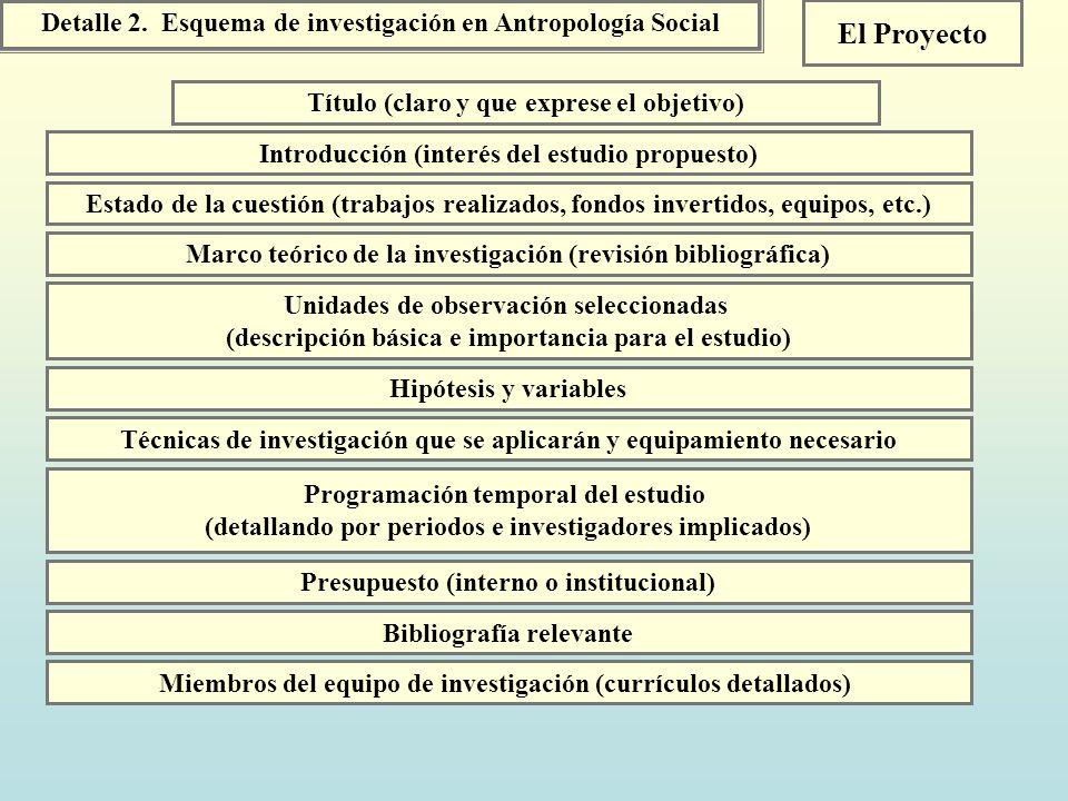 El Proyecto Detalle 2. Esquema de investigación en Antropología Social