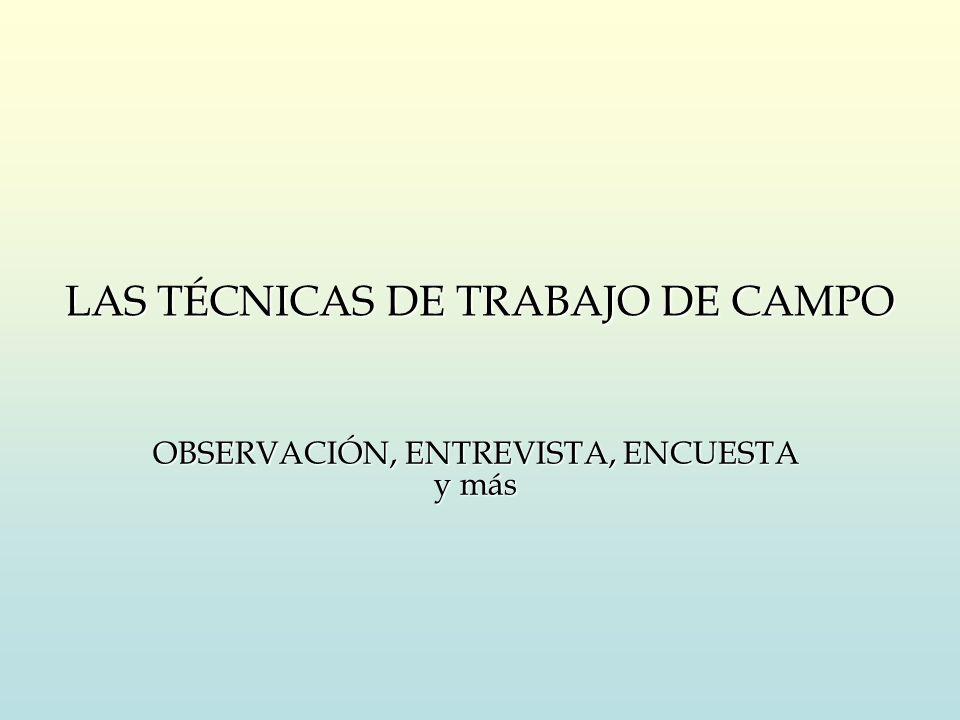 LAS TÉCNICAS DE TRABAJO DE CAMPO