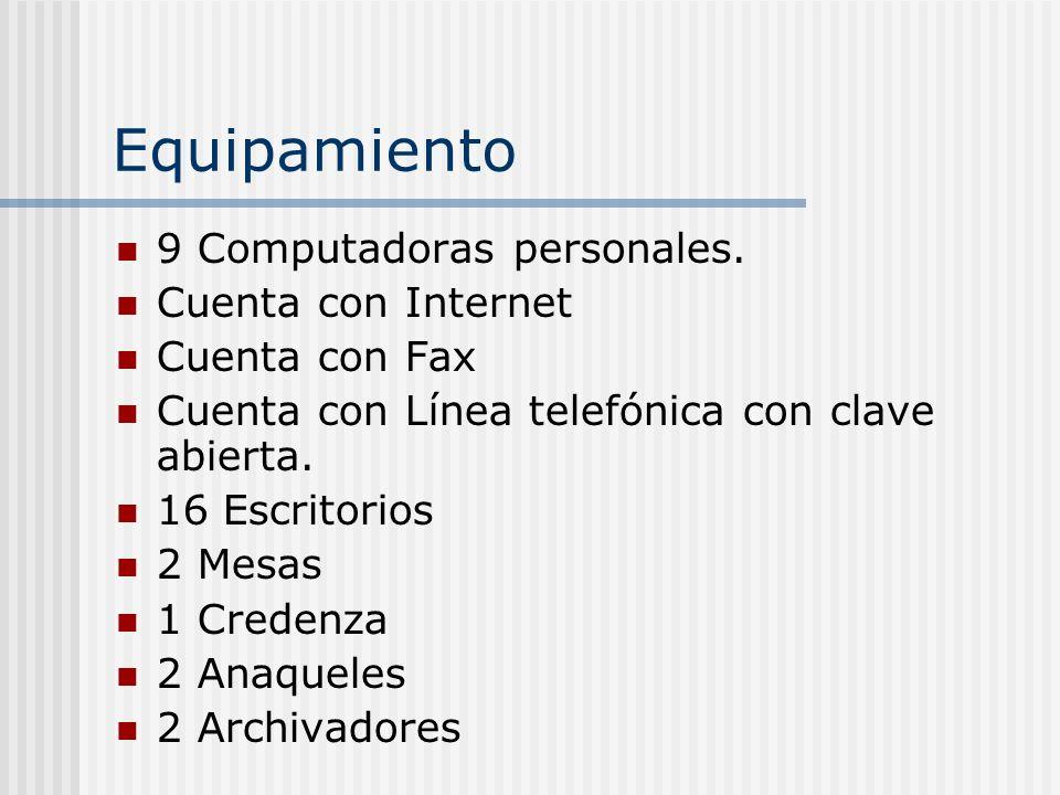 Equipamiento 9 Computadoras personales. Cuenta con Internet