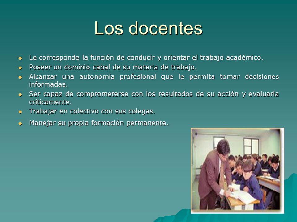 Los docentes Le corresponde la función de conducir y orientar el trabajo académico. Poseer un dominio cabal de su materia de trabajo.
