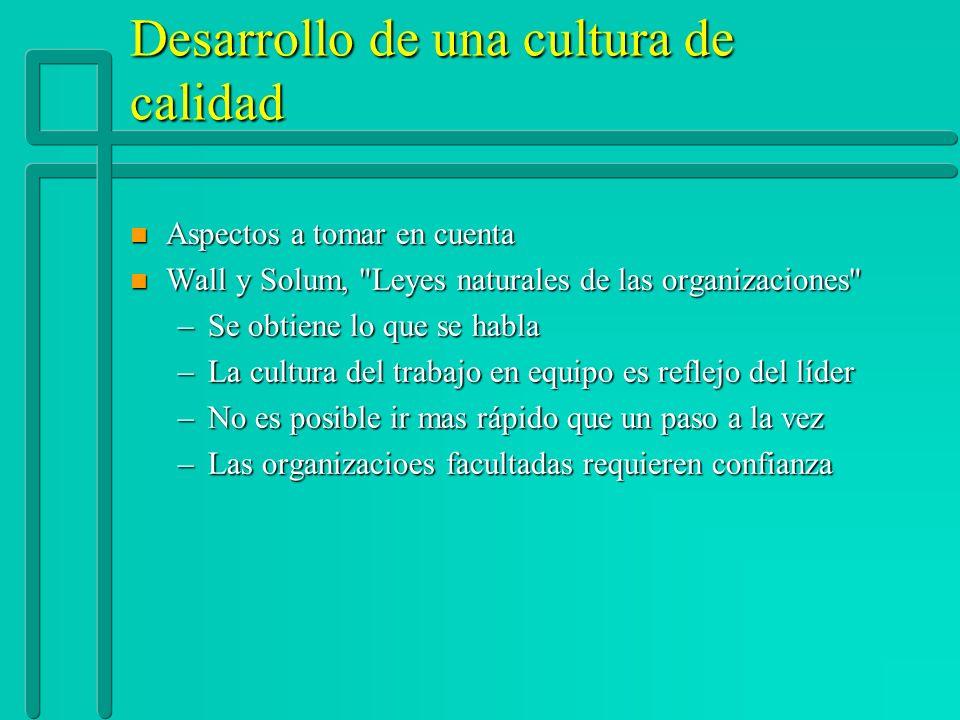 Desarrollo de una cultura de calidad