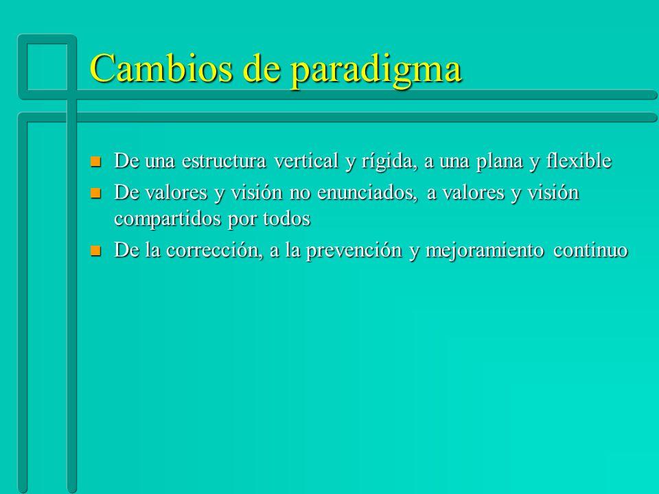 Cambios de paradigma De una estructura vertical y rígida, a una plana y flexible.