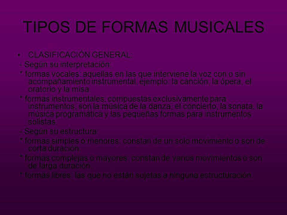 TIPOS DE FORMAS MUSICALES