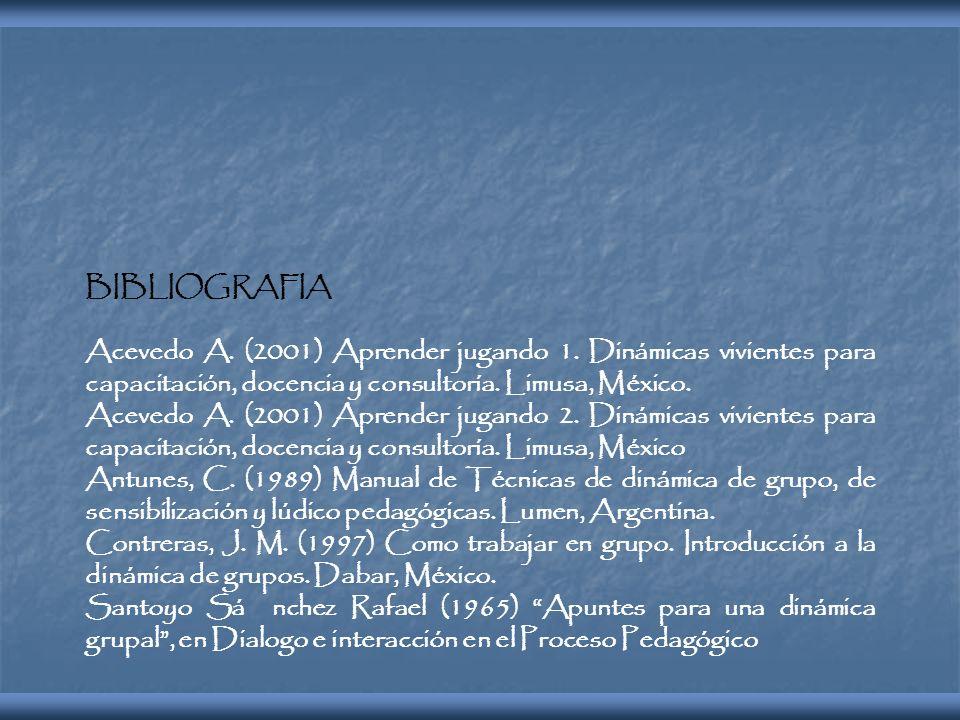 BIBLIOGRAFIA Acevedo A. (2001) Aprender jugando 1. Dinámicas vivientes para capacitación, docencia y consultoría. Limusa, México.
