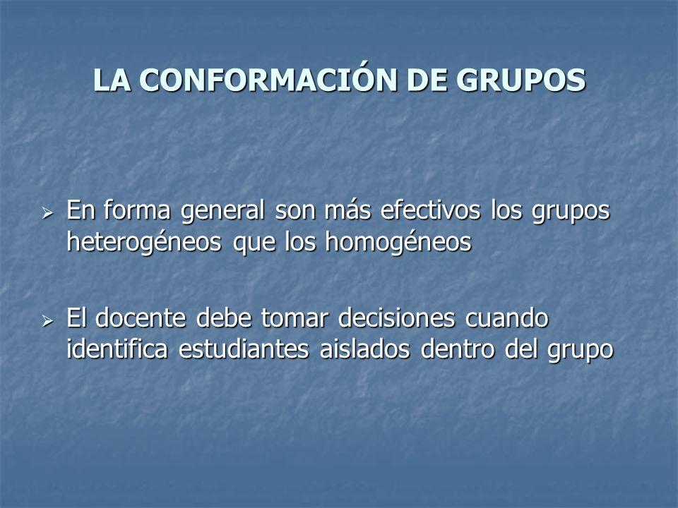 LA CONFORMACIÓN DE GRUPOS