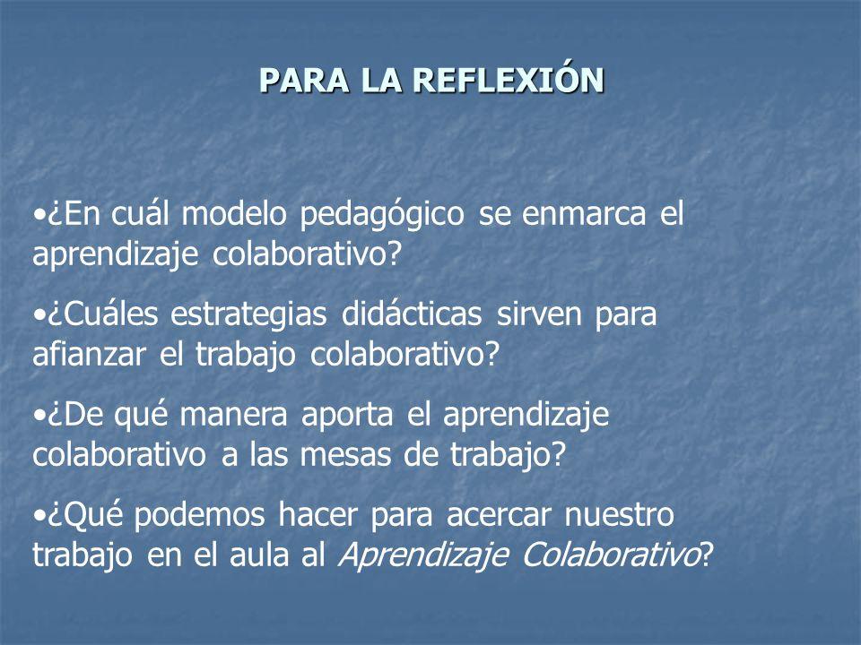 PARA LA REFLEXIÓN ¿En cuál modelo pedagógico se enmarca el aprendizaje colaborativo
