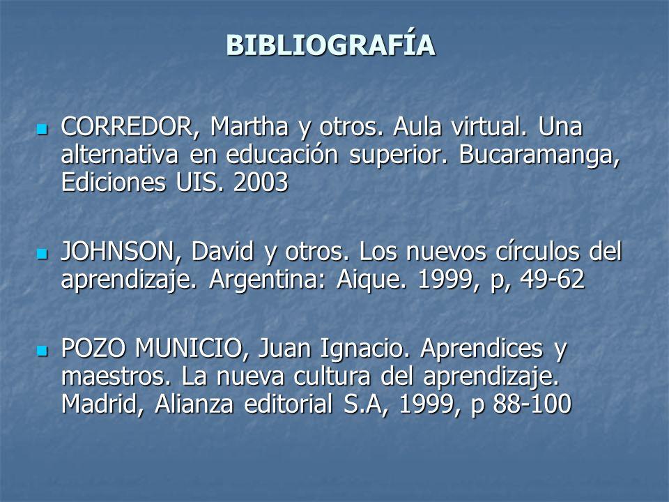 BIBLIOGRAFÍA CORREDOR, Martha y otros. Aula virtual. Una alternativa en educación superior. Bucaramanga, Ediciones UIS. 2003.