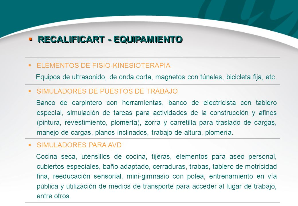 RECALIFICART - EQUIPAMIENTO