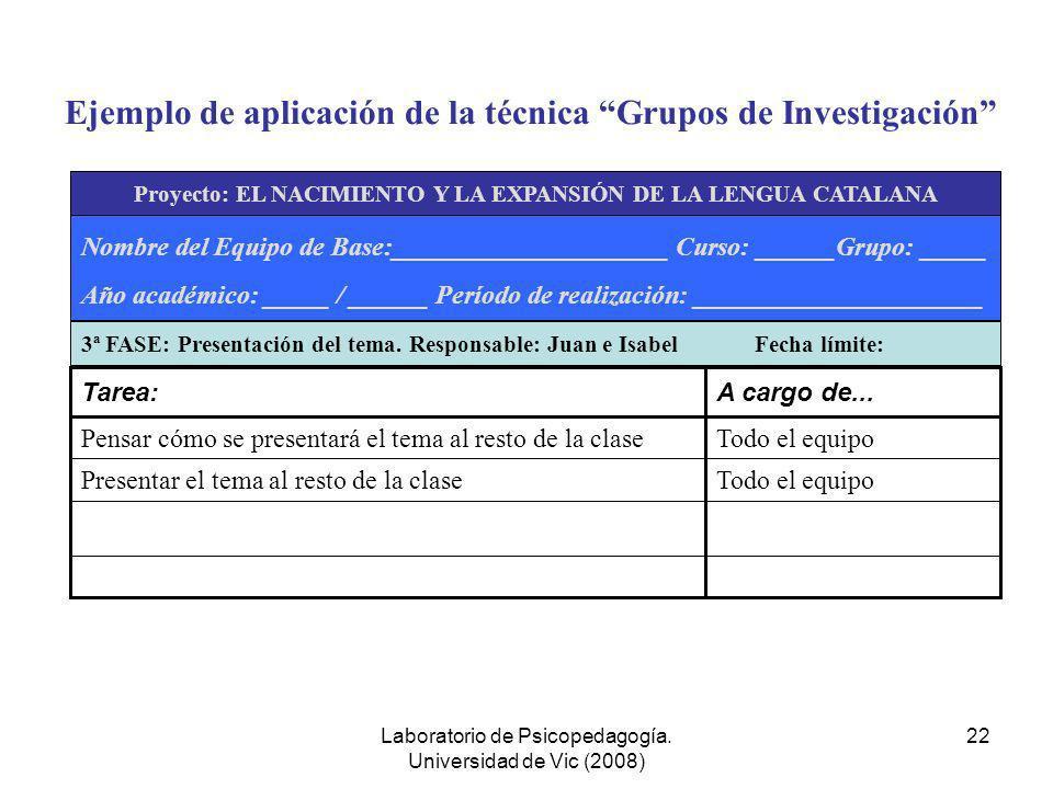 Ejemplo de aplicación de la técnica Grupos de Investigación
