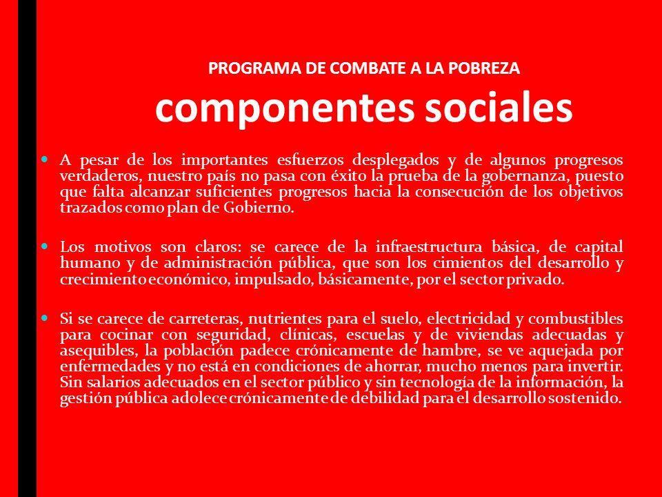 PROGRAMA DE COMBATE A LA POBREZA componentes sociales