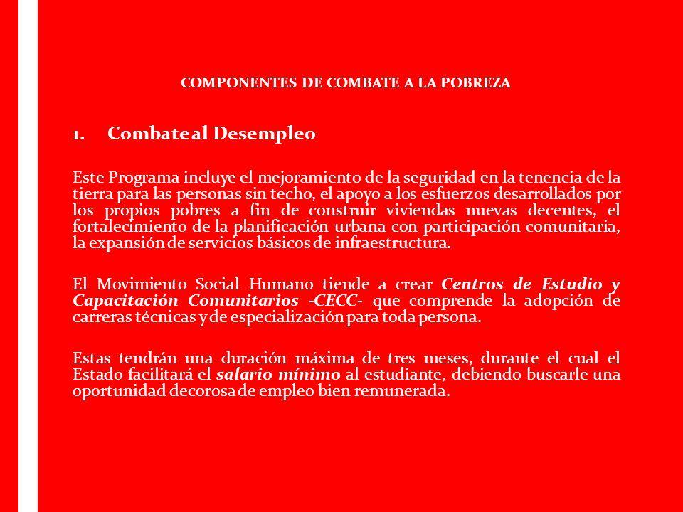 COMPONENTES DE COMBATE A LA POBREZA