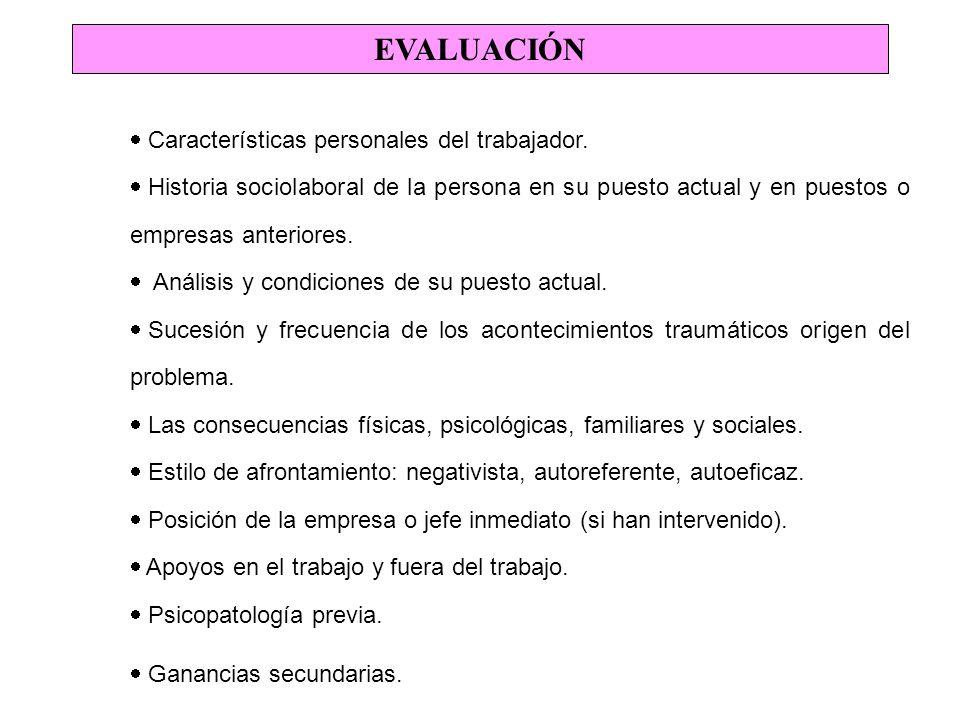 EVALUACIÓN Características personales del trabajador.