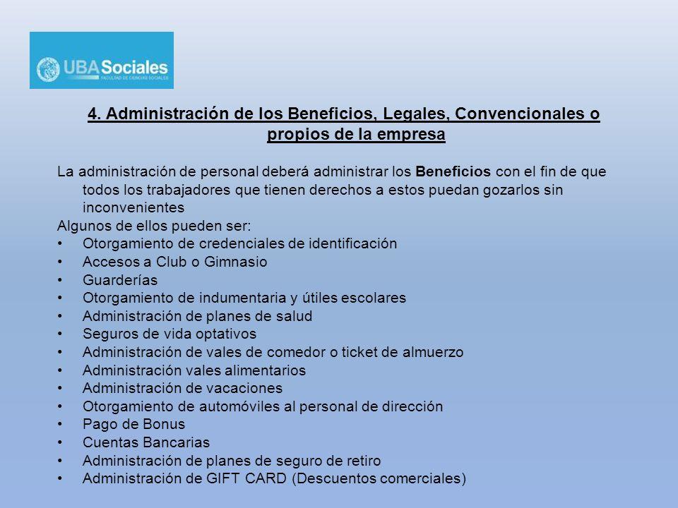 4. Administración de los Beneficios, Legales, Convencionales o propios de la empresa