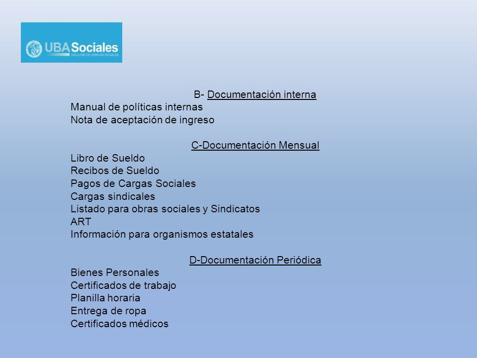 B- Documentación interna Manual de políticas internas