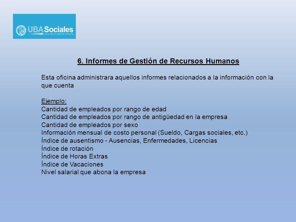 6. Informes de Gestión de Recursos Humanos