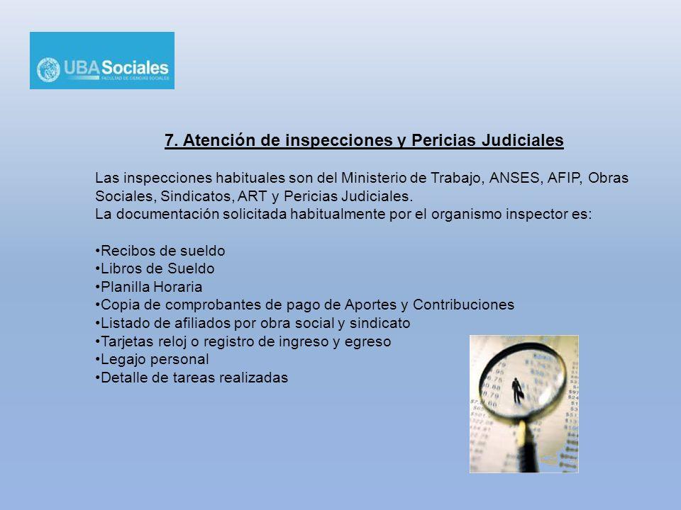 7. Atención de inspecciones y Pericias Judiciales