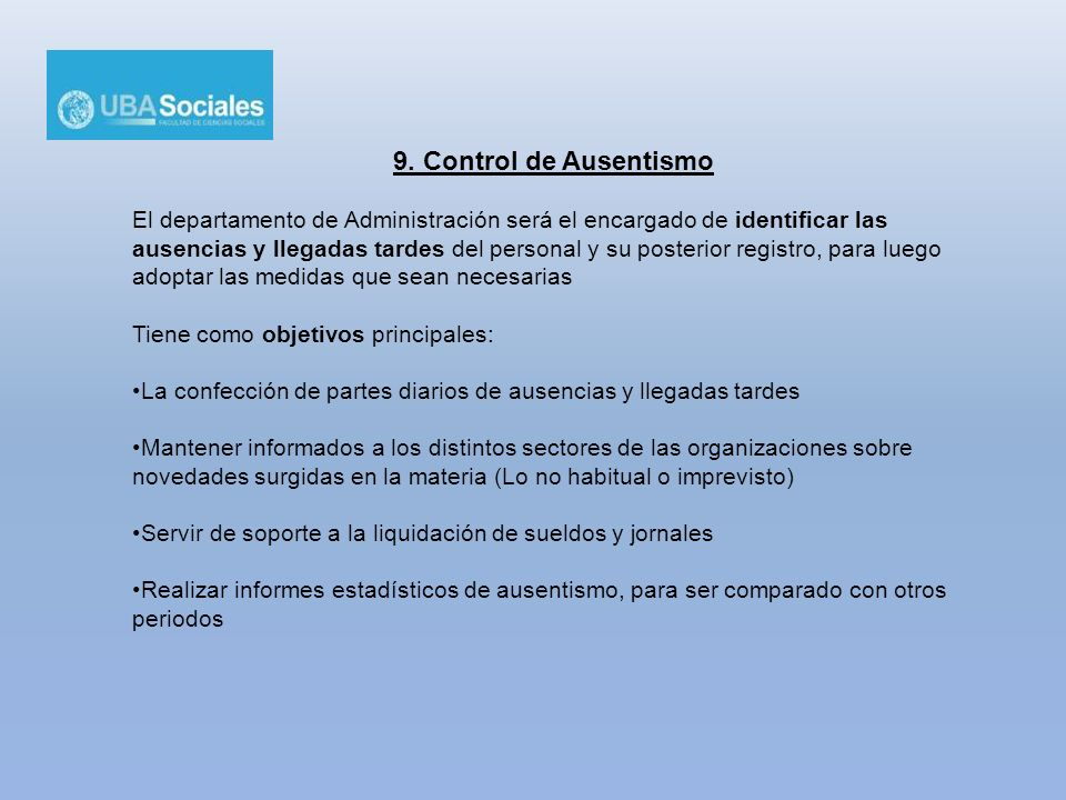 9. Control de Ausentismo