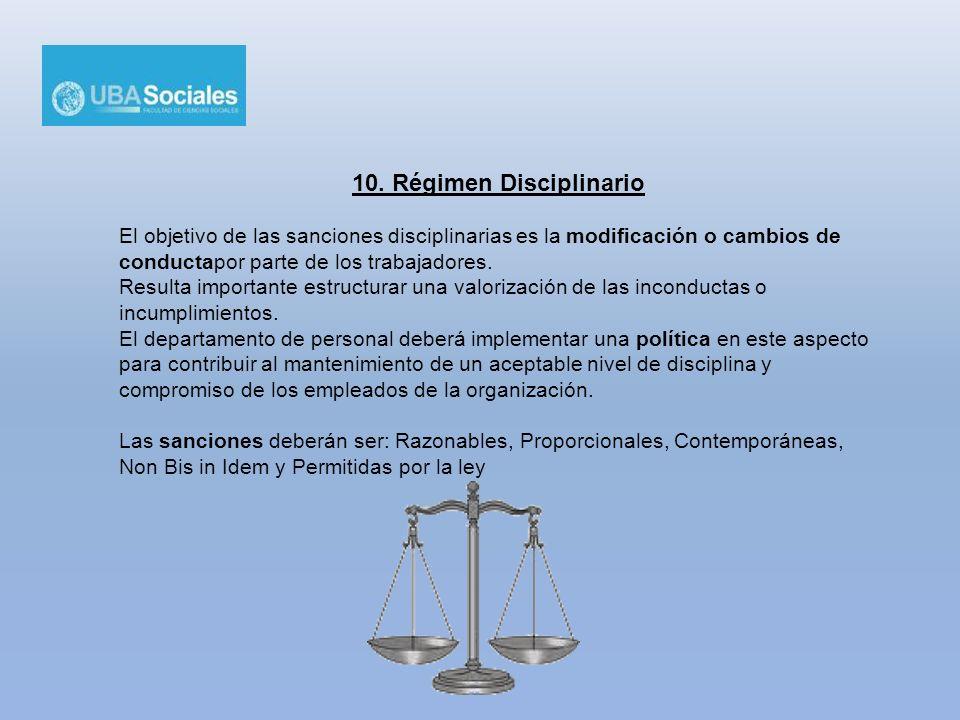 10. Régimen Disciplinario