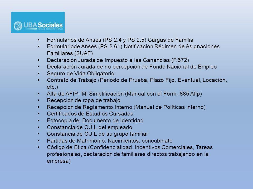 Formularios de Anses (PS 2.4 y PS 2.5) Cargas de Familia