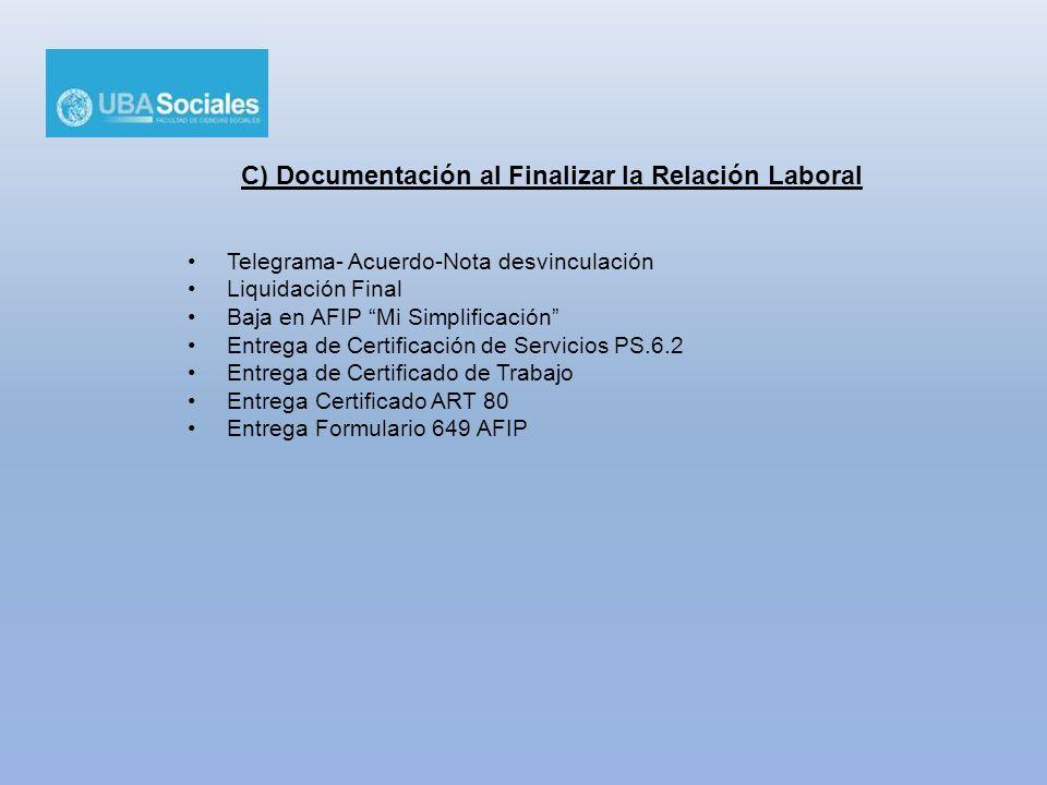 C) Documentación al Finalizar la Relación Laboral