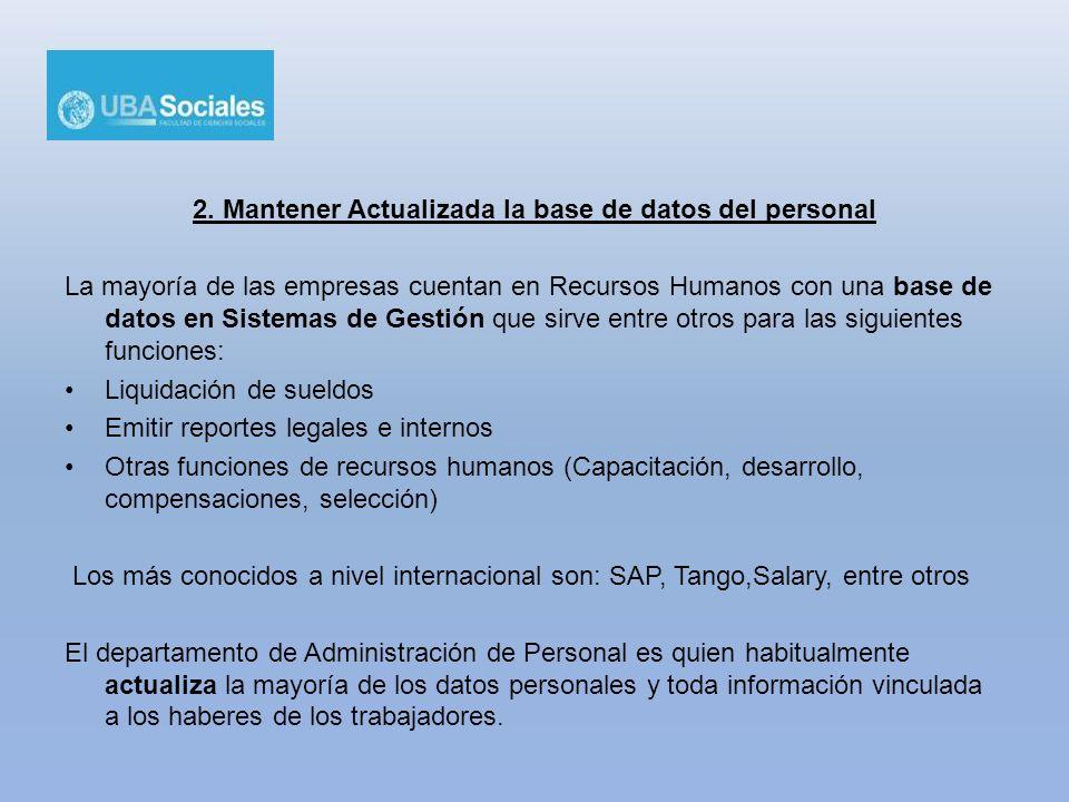 2. Mantener Actualizada la base de datos del personal