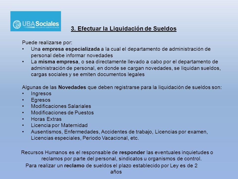 3. Efectuar la Liquidación de Sueldos