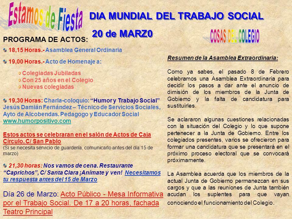 DIA MUNDIAL DEL TRABAJO SOCIAL 20 de MARZ0