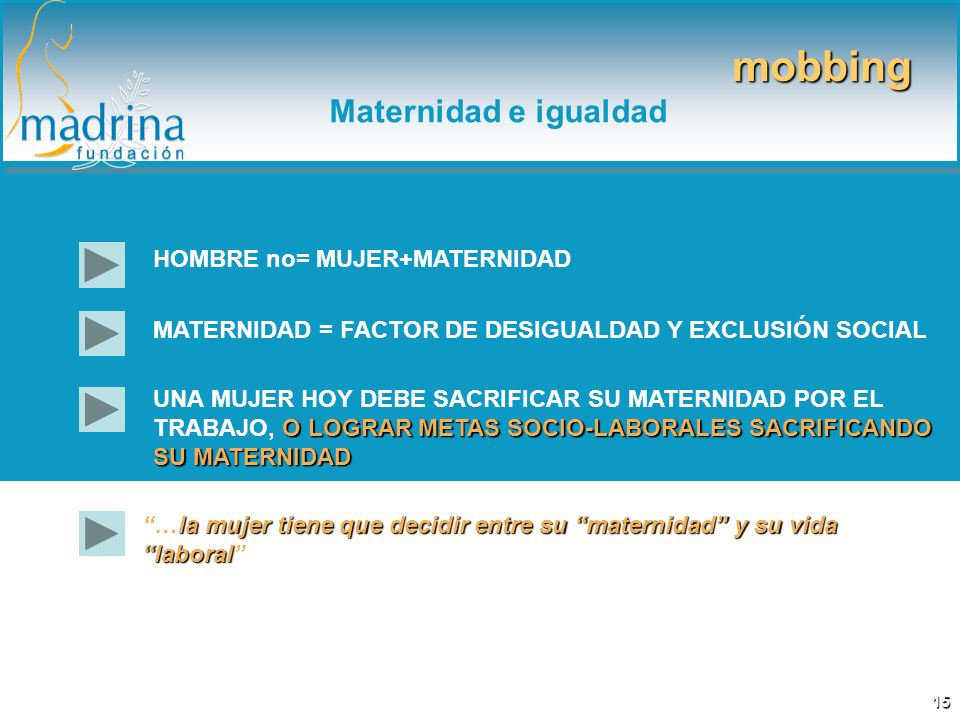 mobbing Maternidad e igualdad HOMBRE no= MUJER+MATERNIDAD