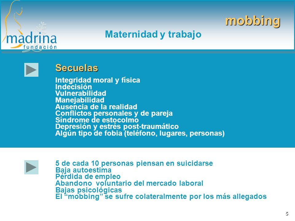 mobbing Maternidad y trabajo Secuelas Integridad moral y física