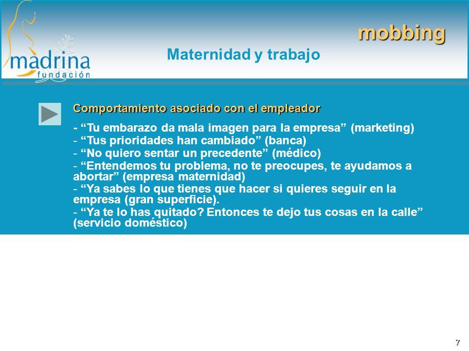 mobbing Maternidad y trabajo Comportamiento asociado con el empleador