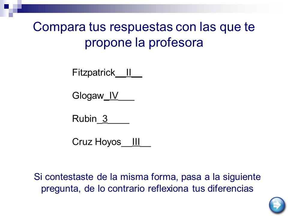 Compara tus respuestas con las que te propone la profesora