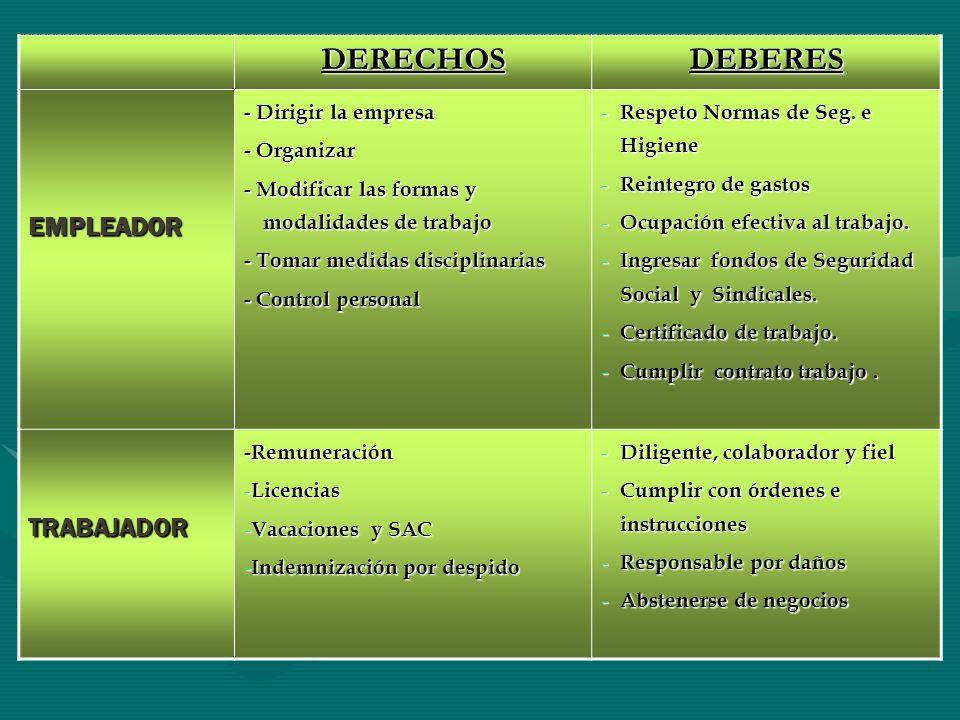 DERECHOS DEBERES EMPLEADOR TRABAJADOR - Dirigir la empresa - Organizar
