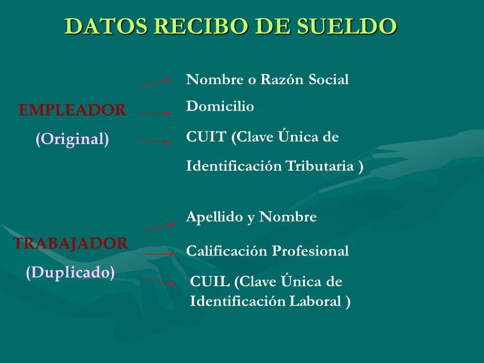 DATOS RECIBO DE SUELDO Nombre o Razón Social Domicilio EMPLEADOR