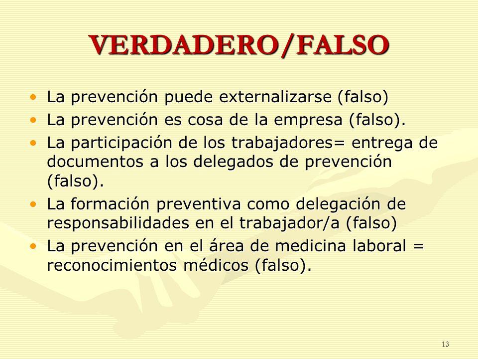 VERDADERO/FALSO La prevención puede externalizarse (falso)