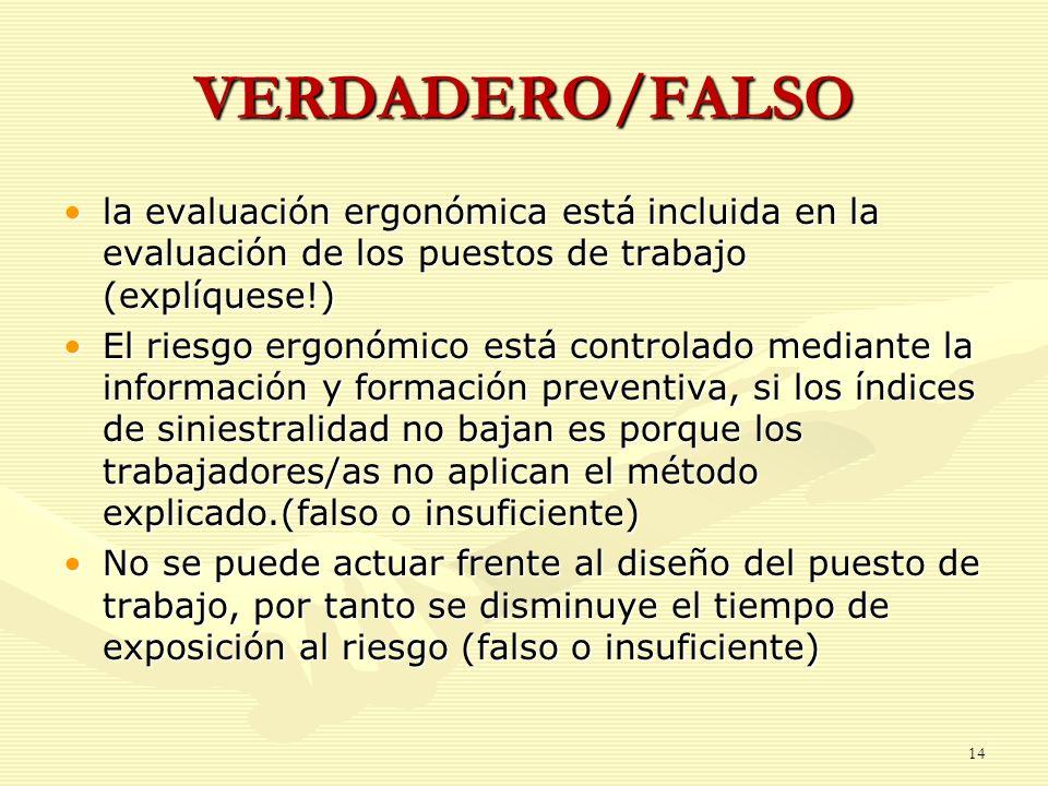 VERDADERO/FALSOla evaluación ergonómica está incluida en la evaluación de los puestos de trabajo (explíquese!)