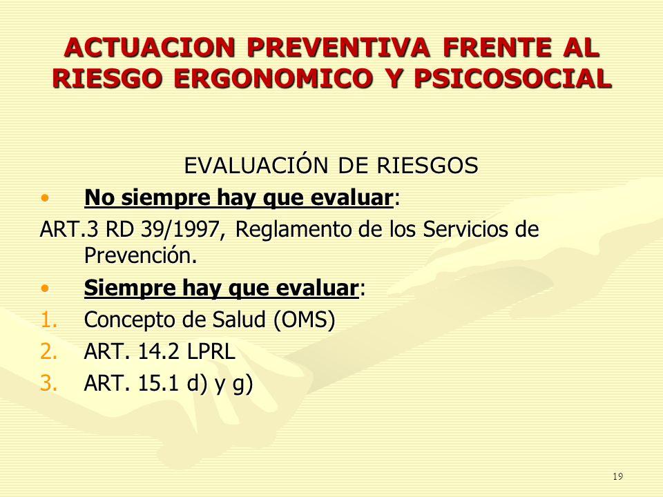 ACTUACION PREVENTIVA FRENTE AL RIESGO ERGONOMICO Y PSICOSOCIAL