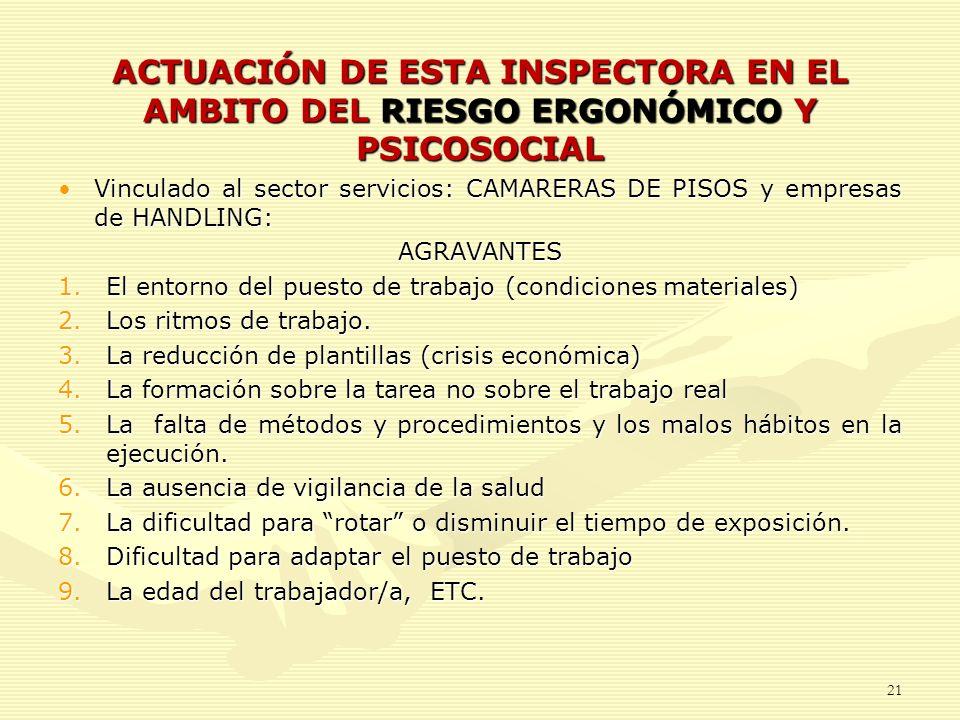 ACTUACIÓN DE ESTA INSPECTORA EN EL AMBITO DEL RIESGO ERGONÓMICO Y PSICOSOCIAL
