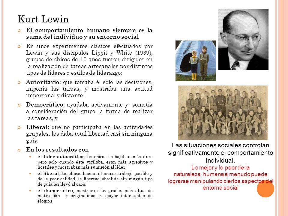 Kurt Lewin Las situaciones sociales controlan