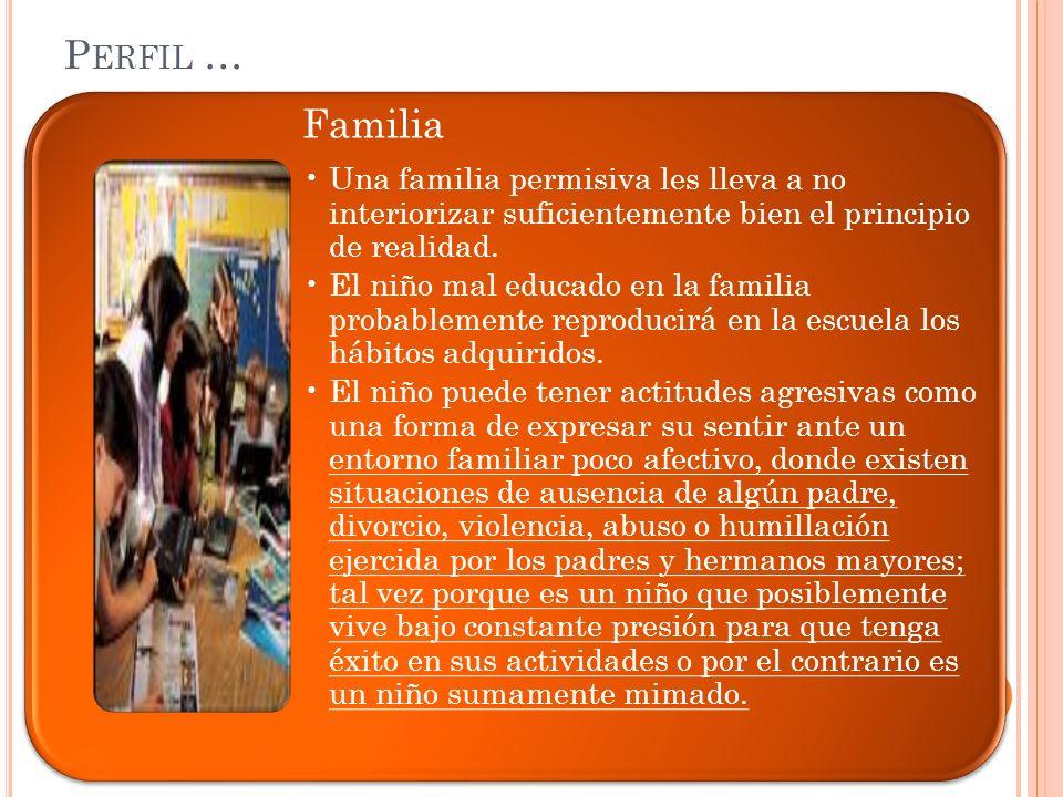 Perfil … Familia. Una familia permisiva les lleva a no interiorizar suficientemente bien el principio de realidad.